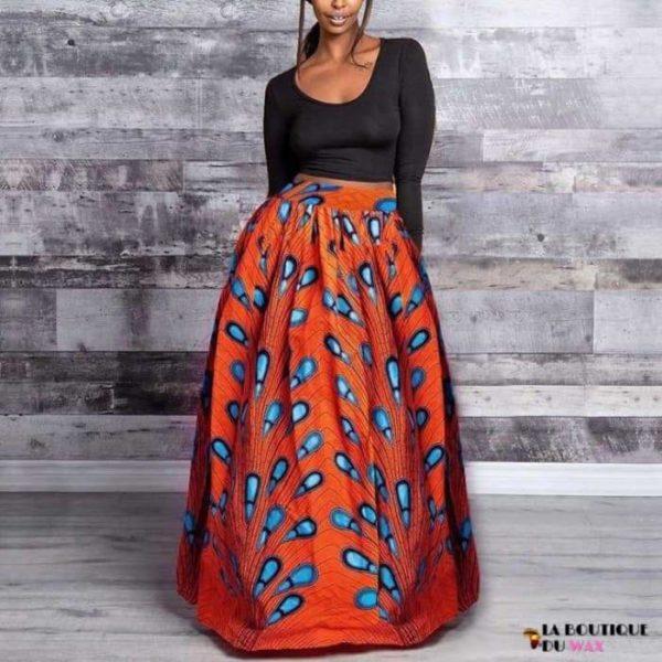 Jupes Kanga pour femme en imprimé Dashiki - Skirt-Orange / M