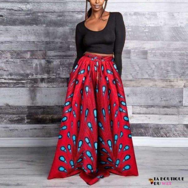 Jupes Kanga pour femme en imprimé Dashiki - Skirt-Red / M /