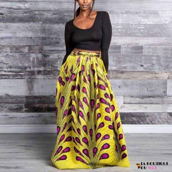 Jupes Kanga pour femme en imprimé Dashiki - Skirt-Yellow / M