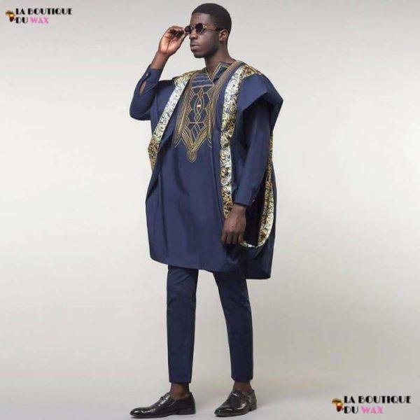 Magistrale et authentique Boubou Africain de couleur bleu