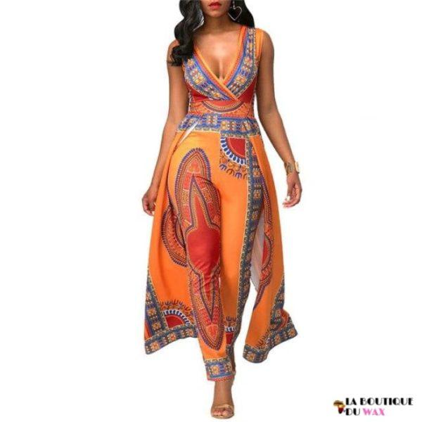Magnifique ensemble en imprimée Dashiki Orange - Orange / S