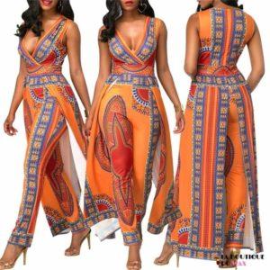 Magnifique ensemble en imprimée Dashiki Orange - Vêtements