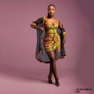 Magnifique Robe Africaine imprimé Kente avec Kimono voile