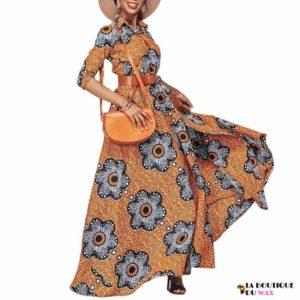 Magnifique Robe longue en imprimé Wax et manches mi-long
