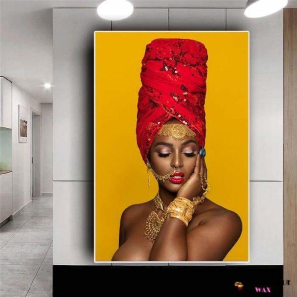 Magnifique Tableau Canvas Femme D'Afrique avec bijoux en or et turban Rouge
