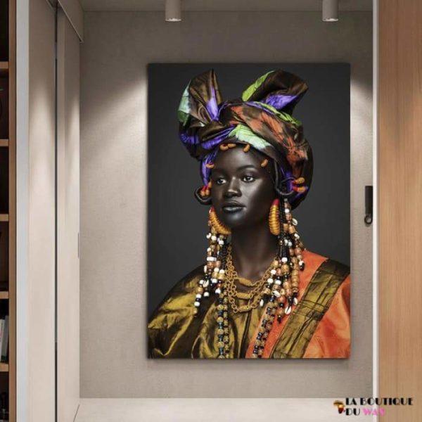 Magnifique Tableau d'une femme Africaine Heureuse