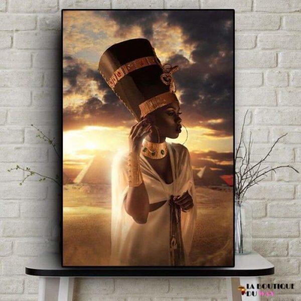 Magnifique Tableau d'une femme Reine du Royaume de Kemet