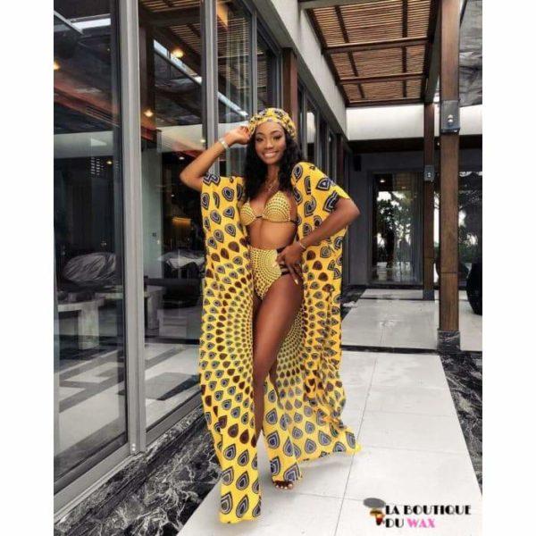 Maillot de Bain Bikini 3 Pièces en imprimé Wax - Maillot de