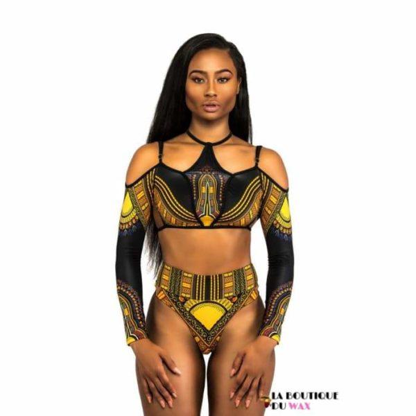 Maillot de Bain bikini en imprimé Dashiki taille haute -