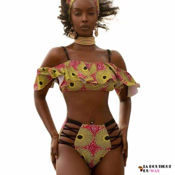 Maillot de Bain Bikini en imprimé Wax Sexy - Maillot de Bain