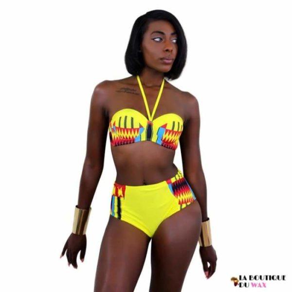 Maillot de Bain Bikini imprimé Wax Ankara spirit - Maillot