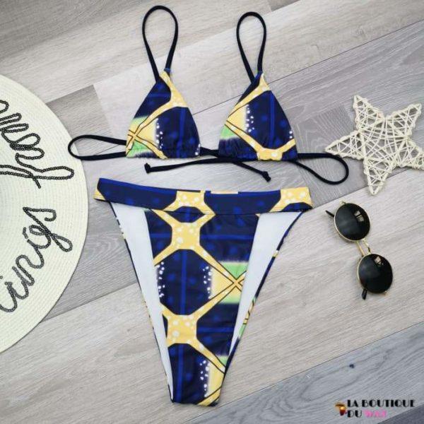 Maillot de Bain Bikini type Africain et Dashiki - color1 / S