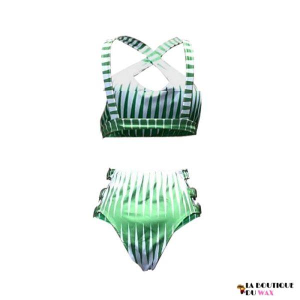 Maillot de Bain Wax taille haute sans couture 3 pièces -