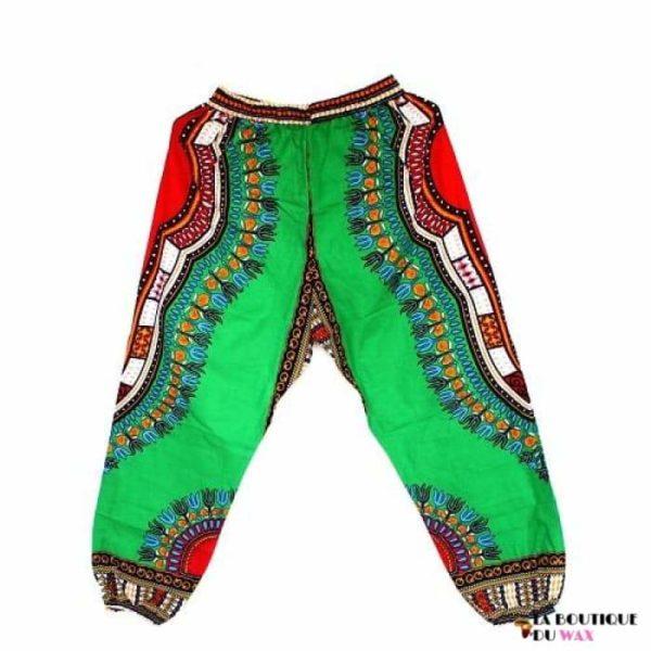Pantalon en imprimé Dashiki unisexe - green / Taille unique