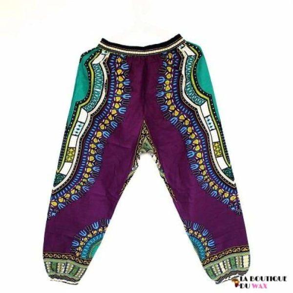 Pantalon en imprimé Dashiki unisexe - light purple / Taille