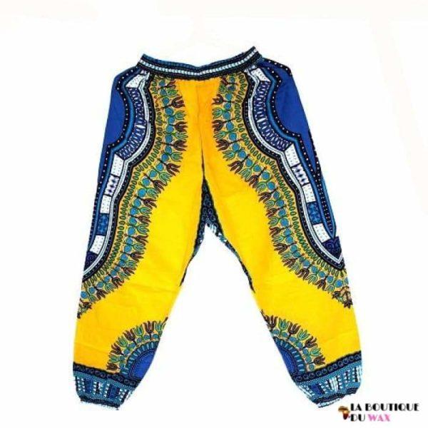 Pantalon en imprimé Dashiki unisexe - yellowblue / Taille