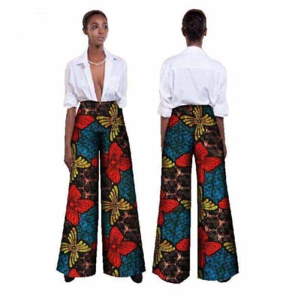 Pantalon imprimé Wax coupe ample 100% coton - Vêtements