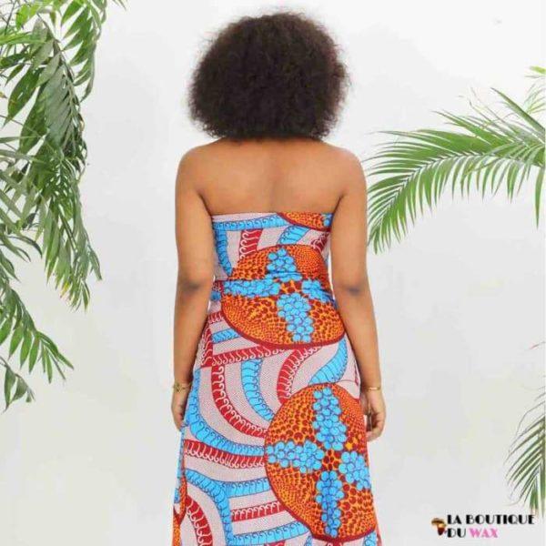 Robe Africaine Bustier ouvert et bas fendu gauche -