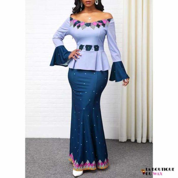 Robe Africaine de style Ankara imprimé Dashiki - Bleu / S -