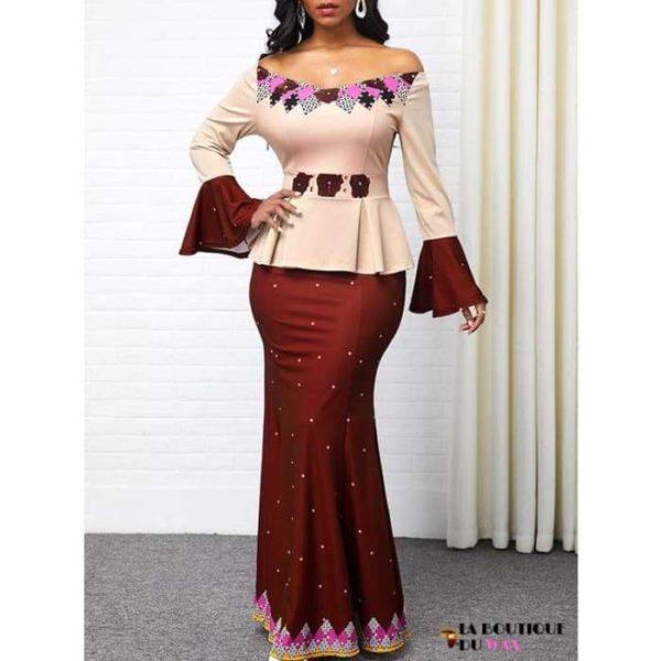 Robe Africaine de style Ankara imprimé Dashiki - Brick red /