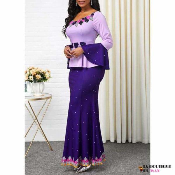 Robe Africaine de style Ankara imprimé Dashiki - Lavande / S