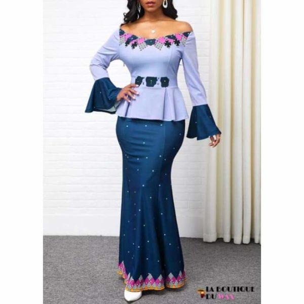 Robe Africaine Divine - Bleu / S - Vêtements style africain