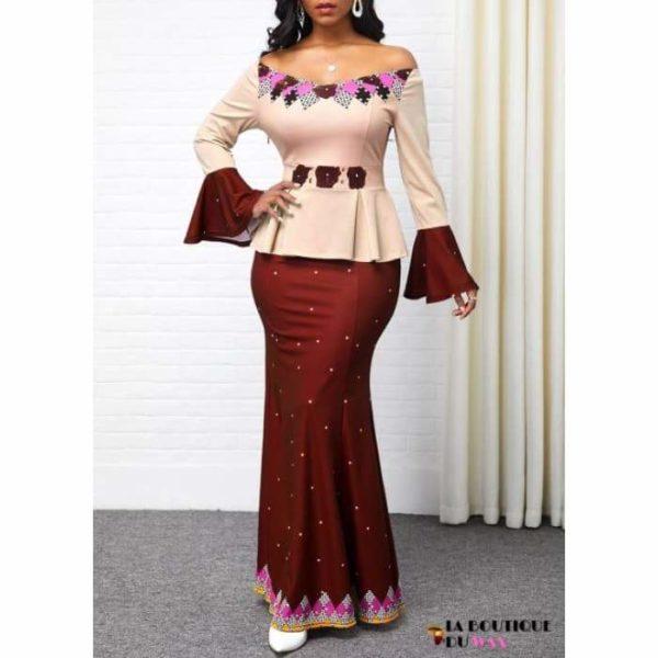 Robe Africaine Divine - Bourgogne / S - Vêtements style