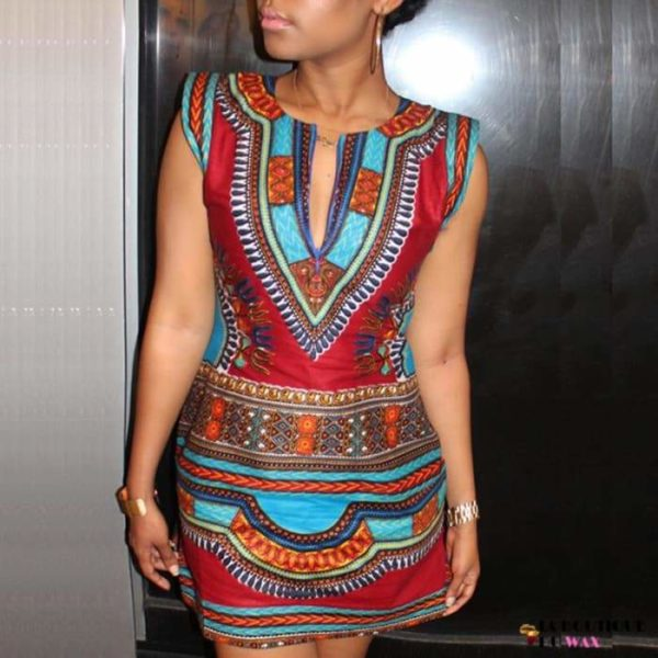 Robe Africaine juste au corps en imprimée Dashiki -