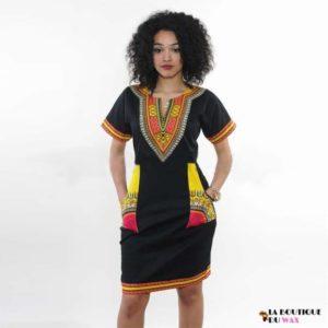Robe Africaine juste au corps Vintage avec imprimé Dashiki