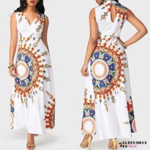 Robe Africaine longue et sans manches motifs à fleurs