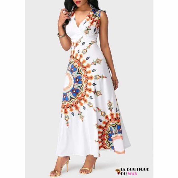 Robe Africaine longue et sans manches motifs à fleurs -