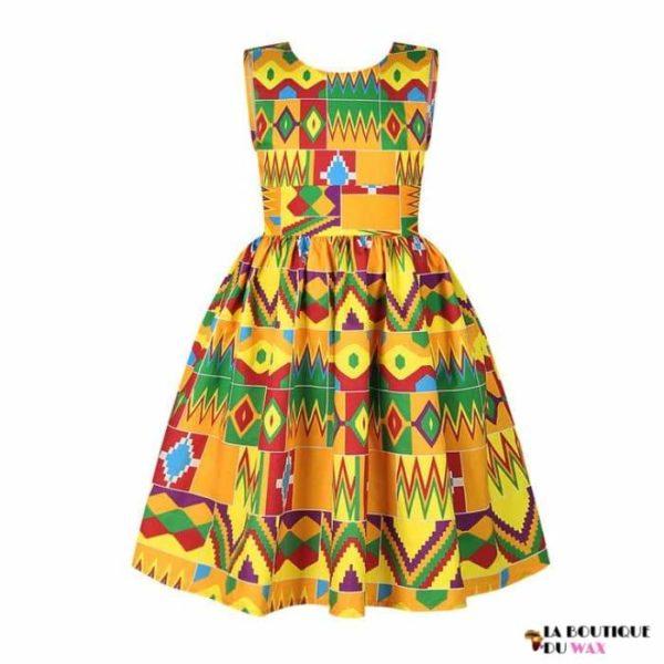Robe Africaine pour jeune fille imprimé Kente - 3 /
