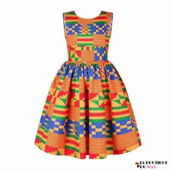 Robe Africaine pour jeune fille imprimé Kente - 4 /
