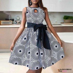 Robe Africaine sans manches à encolure avec imprimé
