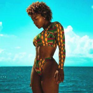 Maillot de Bain Bikini imprimé Vintage africain