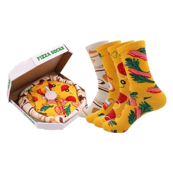 boutique vente pour acheter chaussettes dépareillées belle présentation dans une boite à pizza en carton