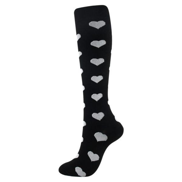 chaussettes-de-compression/chaussettes-de-compression-noir-et-blanc-avec-un-coeur