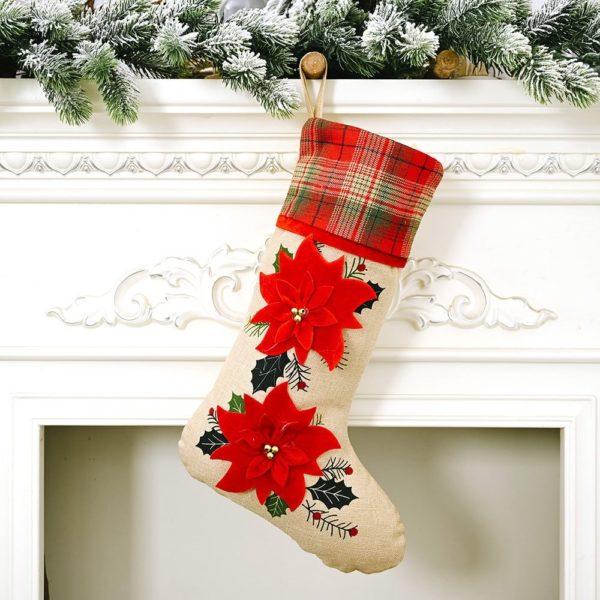 chaussette de noël fleurs rouge