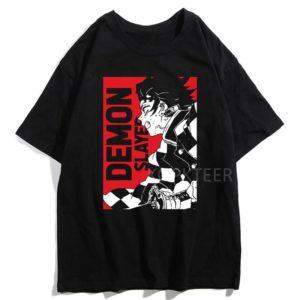 T-shirt Demon Slayer Tanjiro Rouge et Noir